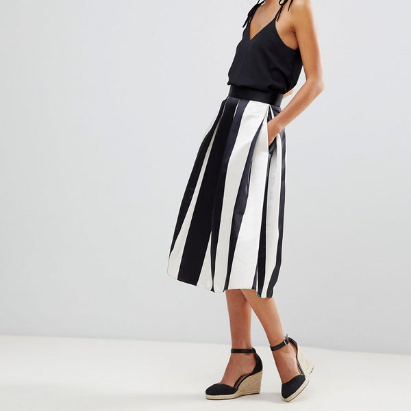 Closet London Full Prom Sateen Midi Skirt In Stripe Print - Mono