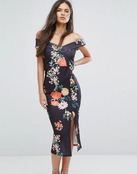 Outrageous Fortune Bardot Pencil Dress with Split - Black print
