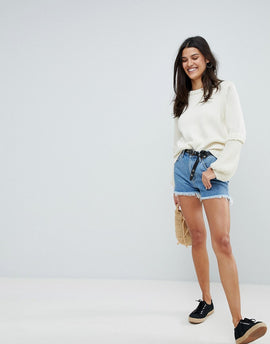Mih Jeans Cut Off Denim Shorts - Halo