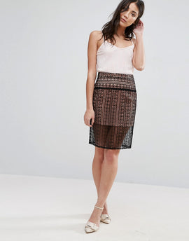 The English Factory Laser Cut Pencil Skirt - Black/nude