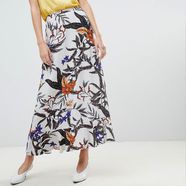 Gestuz Floral Printed Long Skirt - Grey flower print