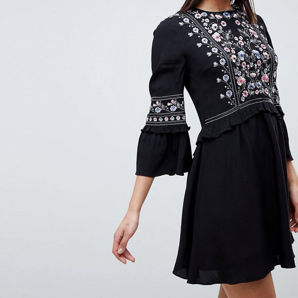 Forever New Embroidered Smock Dress - Black