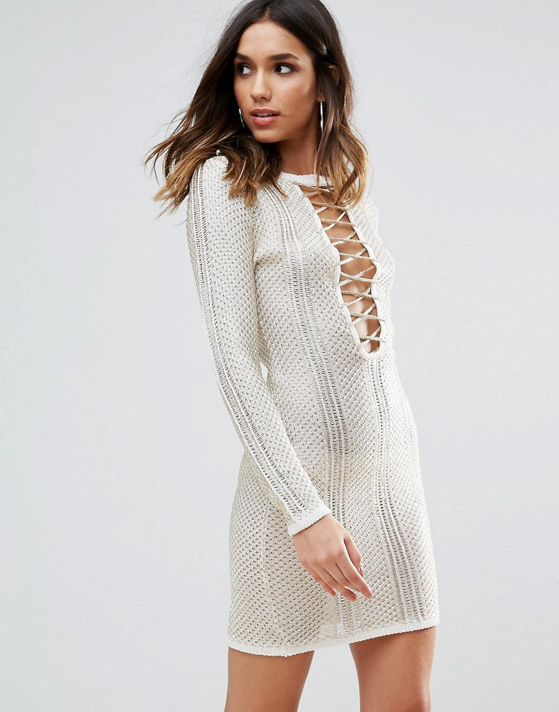 WOW Couture Metallic Crochet Dress With Lace Up Detail - Ivory