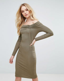 Love Ribbed Bardot Midi Dress - Mushroom