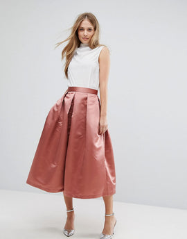 Closet London Full Prom Sateen Midi Skirt - Rust