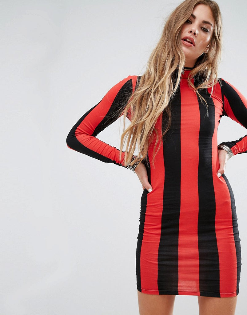 Motel Bodycon Dress With Long Sleeve In Stripe - Red