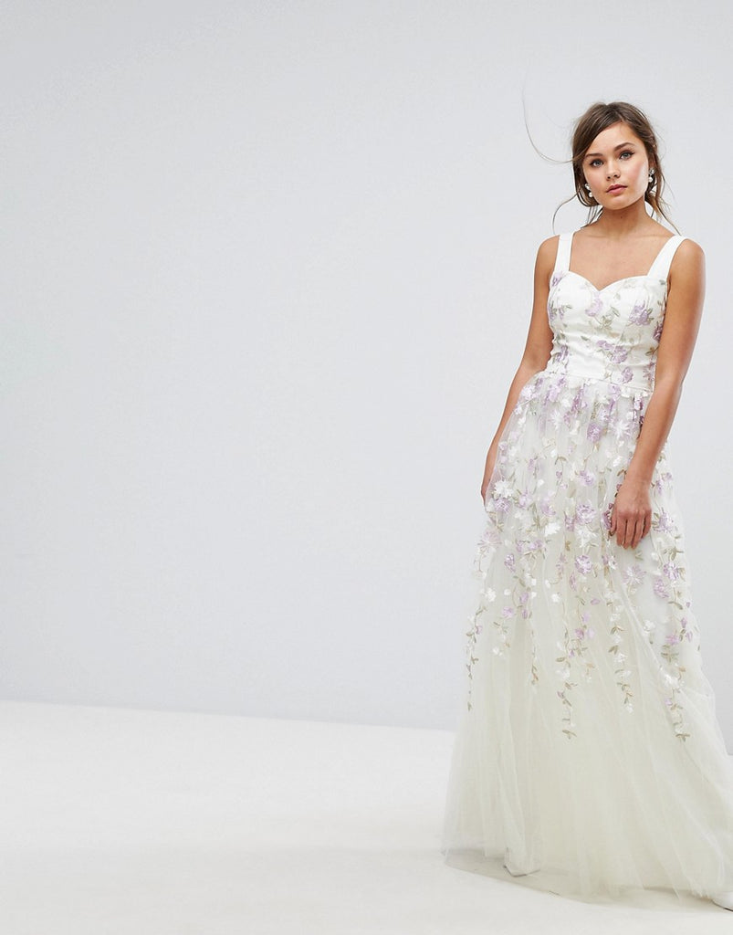 0356280119a Chi Chi London Tulle Maxi Dress With Floral Embroidery - Ivory multi –  Dresses247