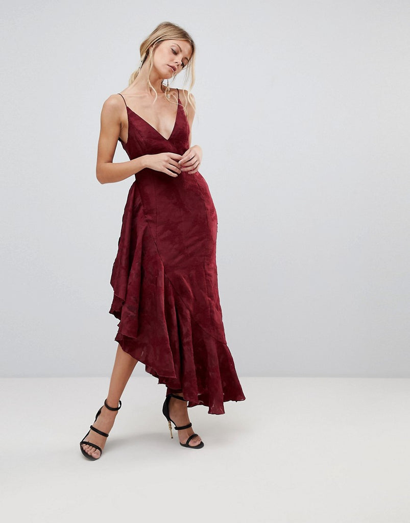 C/Meo Collective Ember Ruffle Midi Dress - Ruby