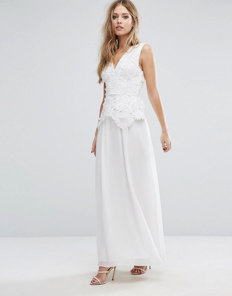 French Connection Manzoni Lace Maxi Dress Summer White