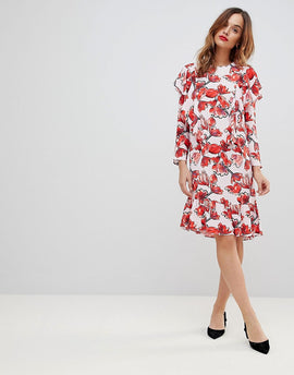 Y.A.S Graphic Floral Frill Shift Dress - Multi