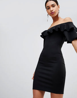 Fashion Union Bodycon Off Shoulder Dress With Ruffles In Crinkle - Black crinkle