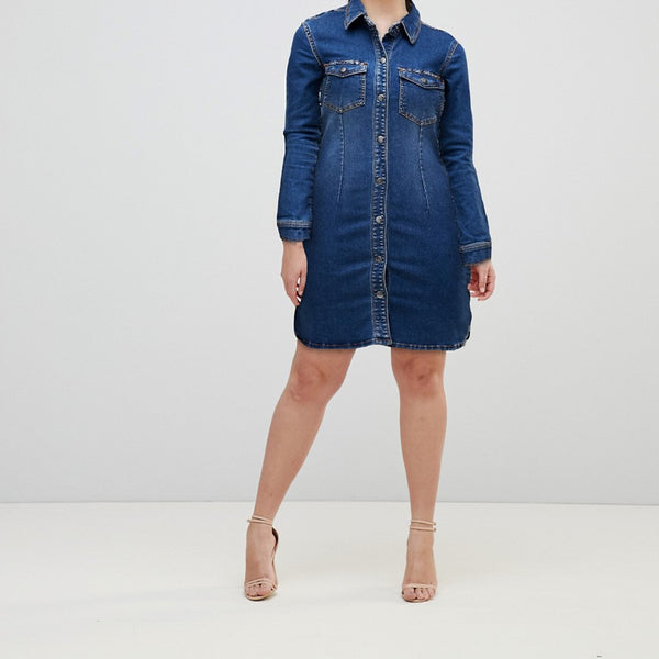 JDY Denim Shirt Dress - Medium blue denim