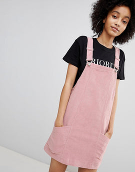 Bershka baby cord dungaree dress in pink - Pink