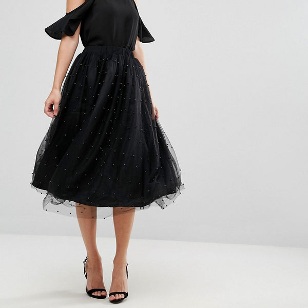 Amy Lynn Tulle Midi Skirt - Black