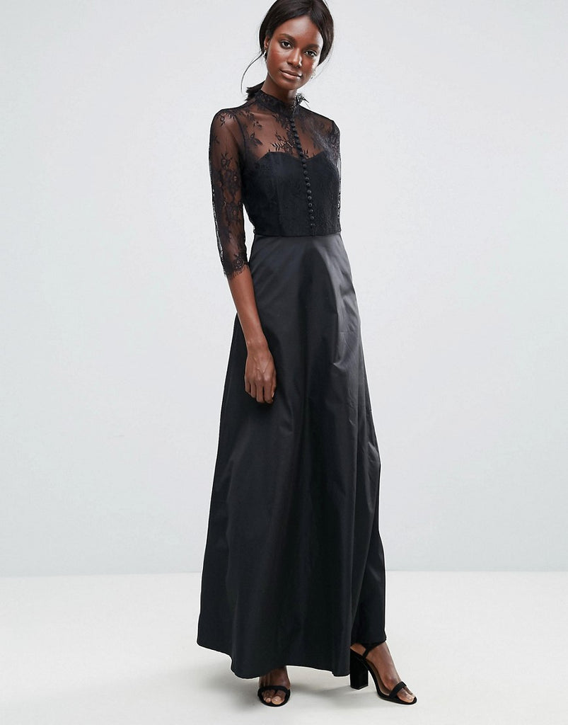 Y.A.S High Neck Maxi Dress With Lace Insert - Black
