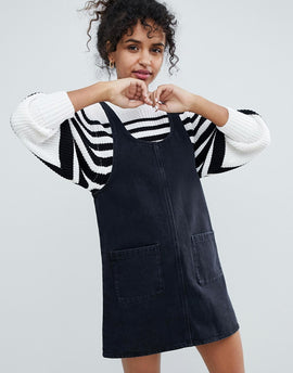 Monki Denim Pinny Dress - Black