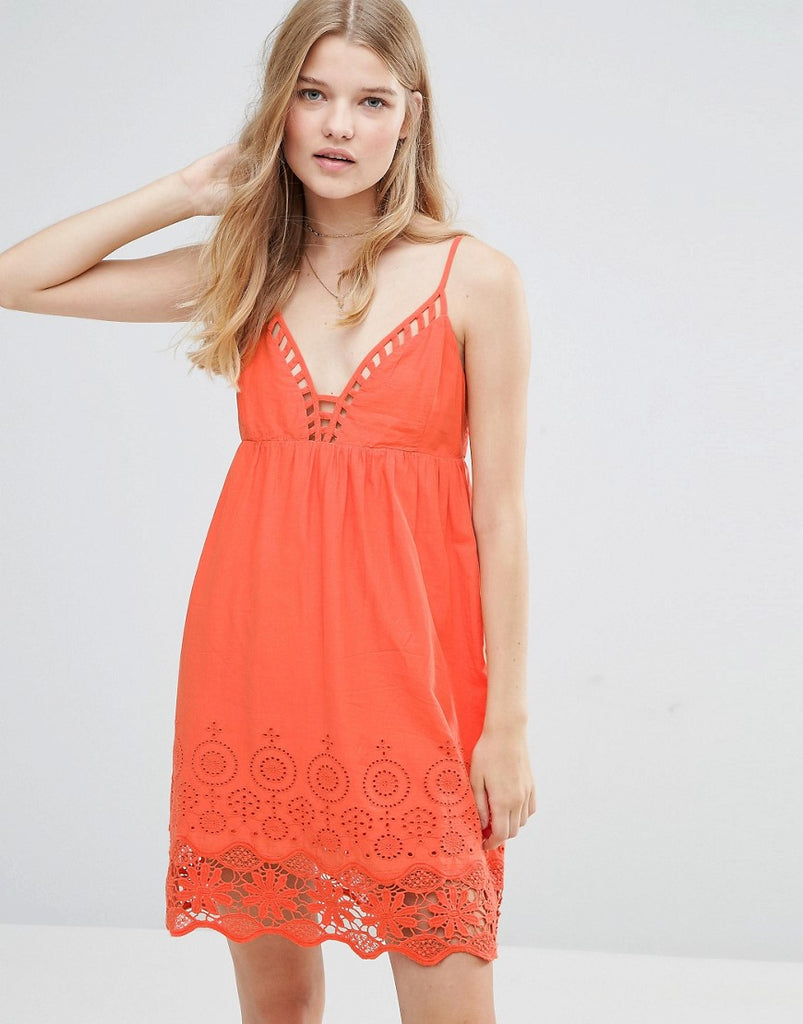 Pepe Jeans Nati Crochet Dress - Tangerine