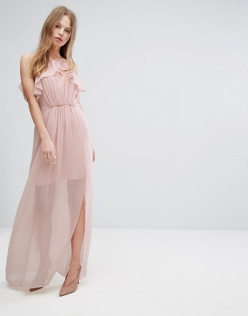 BCBGeneration Pink Frilled Maxi Dress - Rose smoke