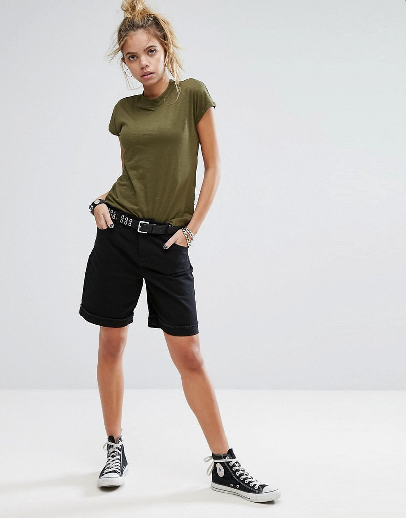 Noisy May Long Line Boyfriend Short - Black