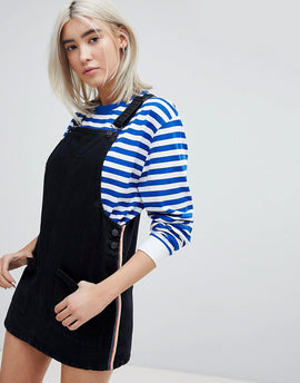Pull&Bear Rainbow Stripe Denim Dress - Black