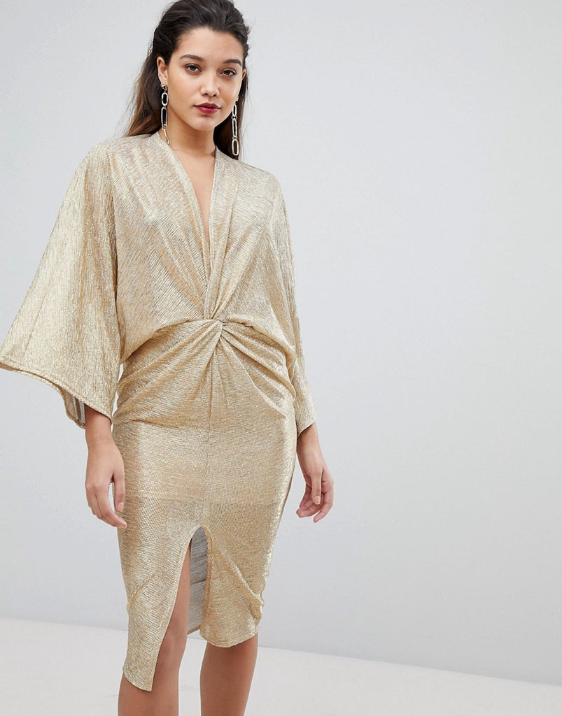 Flounce London Wrap Front Kimono Midi Dress in Gold - Gold