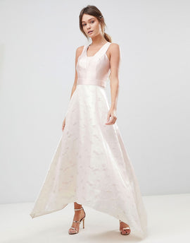 Coast Pearl Metallic Maxi Dress - Soft pink/off white