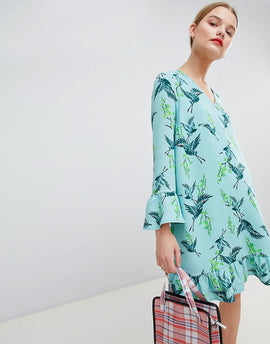 Essentiel Antwerp Drop Waist Dress in Bird Print - Moon grey