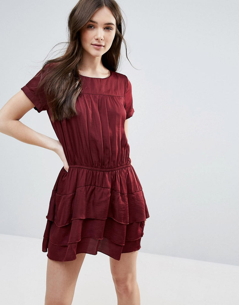 d.RA Helene Dress with Tiered Skirt - Bordeaux