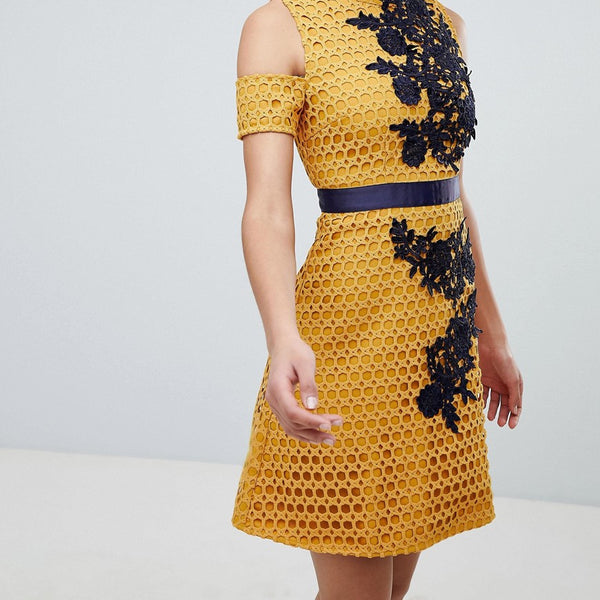 The 8th Sign Lace Skater Dress With Embroidered Detail - Mustard