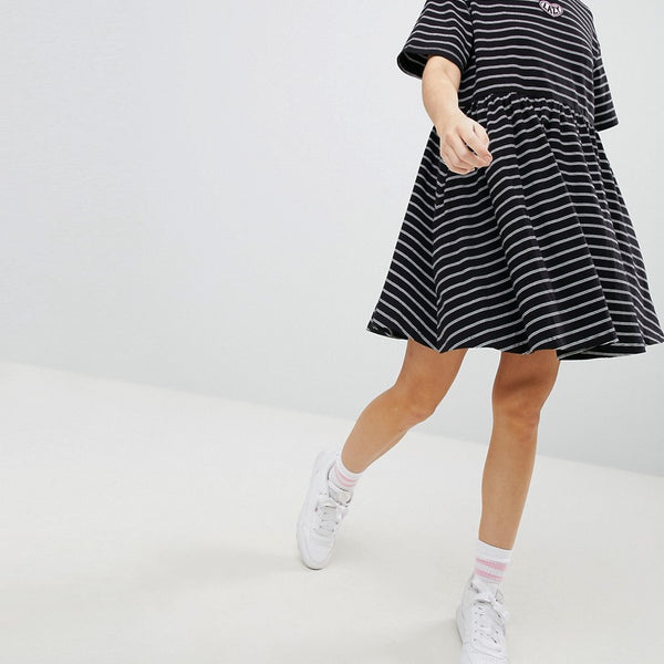 Lazy Oaf Oversized Smock Dress In Stripe - Black