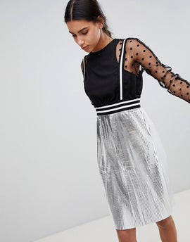Cubic Juliet Lace Dress with Metallic Skirt - Silver