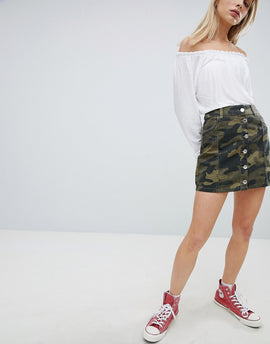 Bershka Denim Button Up Skirt In Khaki Camo - Khaki