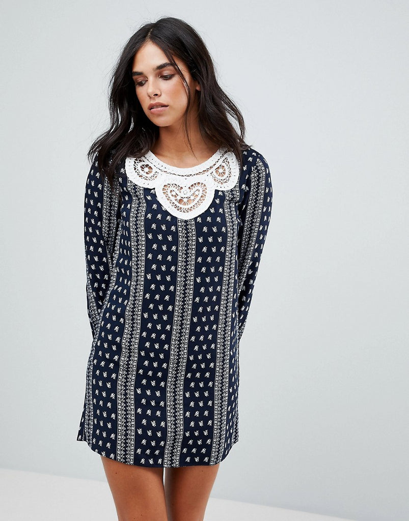 The English Factory Long Sleeve Dress With Crochet Trim - Dark navy