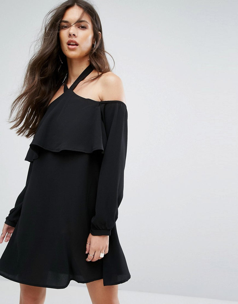 Outrageous Fortune Cold Shoulder Shift Dress with Long Sleeved - Black