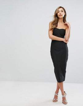 Amy Lynn Occasion Bandage Bandeau Midi Skirt And Crop Top Co-Ord - Black