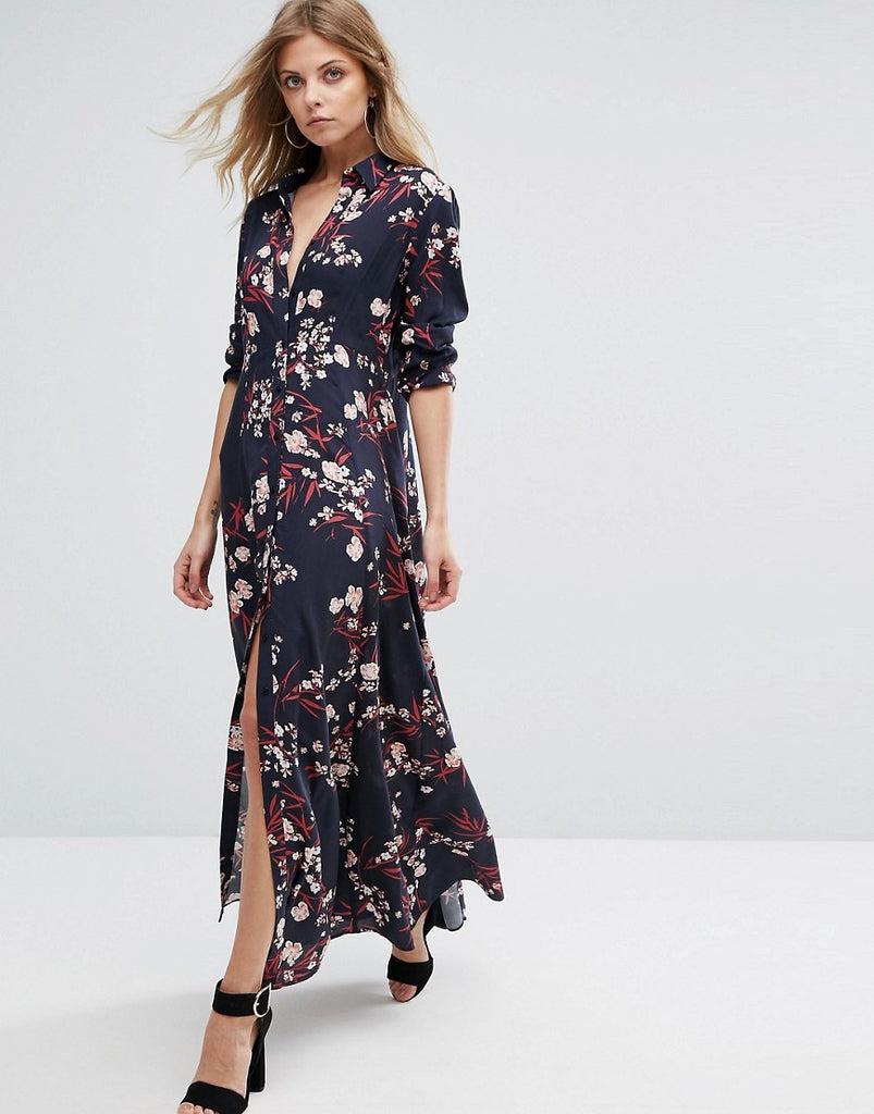 Y.A.S Floral Shirt Maxi Dress - Night sky