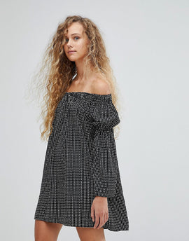 Love Polka Dot Bardot Bell Sleeve Tunic Dress - Black/white