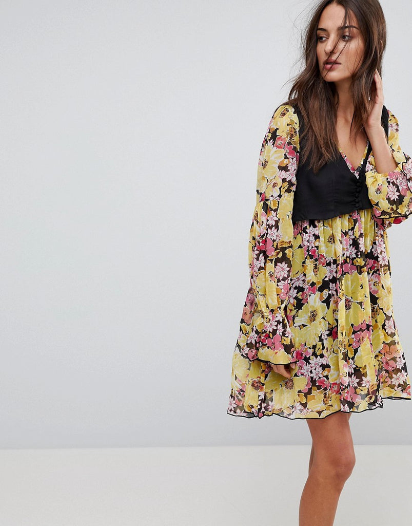 Free People Alice Vested Print Dress - Black combo