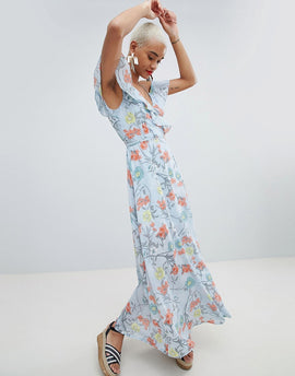PrettyLittleThing Floral Wrap Maxi Dress - Blue