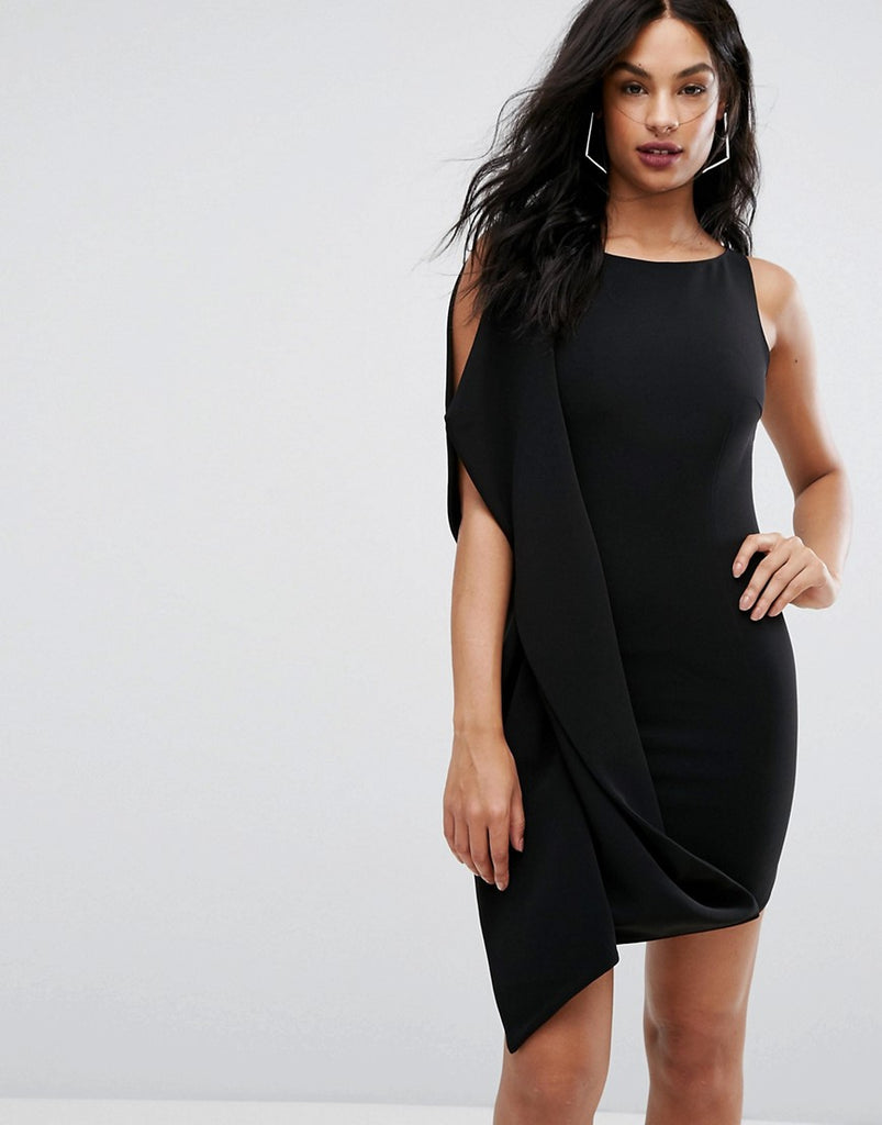 AQ/AQ Mini Dress With Sculpted Frill - Black