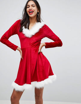 Club L cHRISTMAS Sexy Santa Hooded Skater Dress With Faux Fur Trim - Red