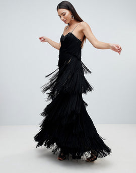Forever Unique Cami Fringed Midaxi Dress - Black
