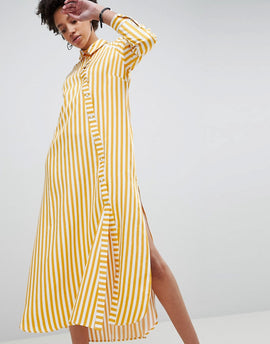 ASOS WHITE Oversized Stripe Maxi Shirt - Orange stripe