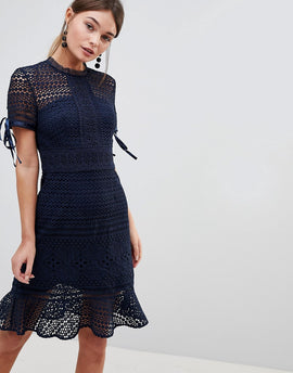 Chi Chi London All Over Lace Midi Dress with High Neck and Short Sleeve - Navy