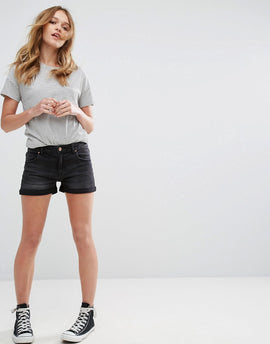 Pull&Bear High Waist Denim Shorts - Black