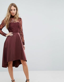 Y.A.S Lace Dress With Open Back - Burgundy