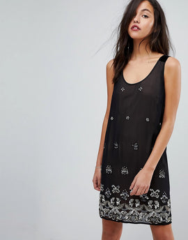 French Connection Embellished Dress with Velvet Straps - Black