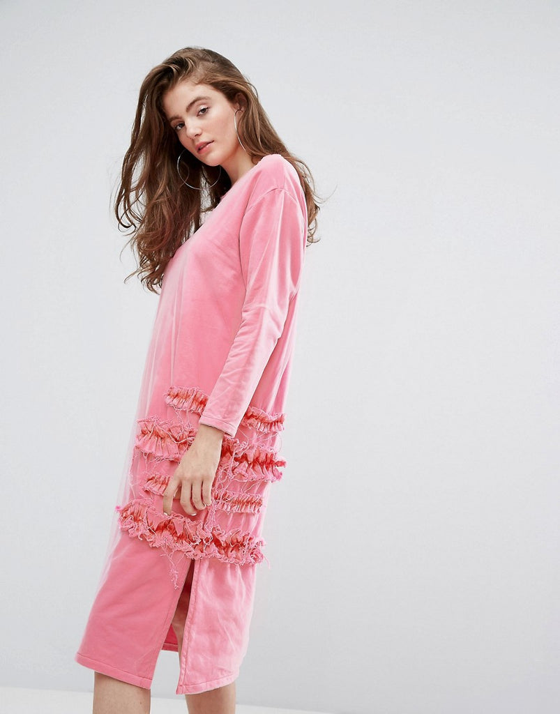 Typical Freaks Frilly Oversized Dress with Mesh - Pink
