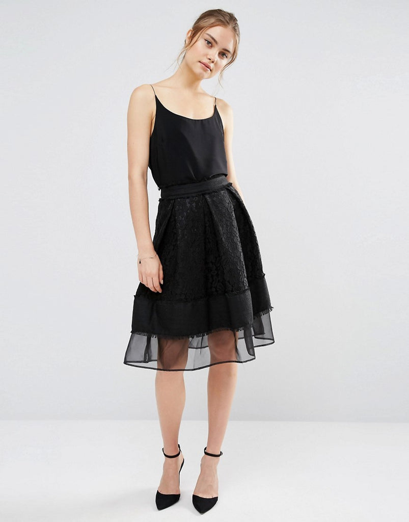Endless Rose Lace Mesh Panel Midi Skirt - Black