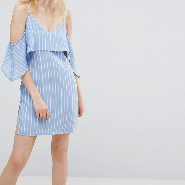 A State Of Being Unknown Cold Shoulder Dress - Blue/white